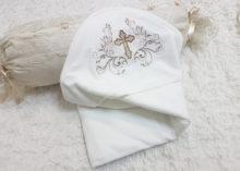 Крестильное полотенце-уголок с цветочным орнаментом