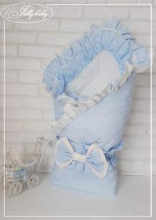 Конверт на выписку для девочки с двойными рюшами (голубой)