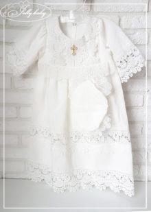 Крестильное платье с капором «Батист» р.80-86
