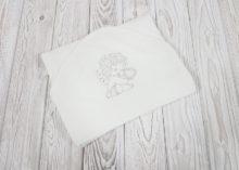 Крестильное полотенце с уголком «Ангелочек» (серебро)