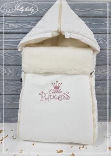 Зимний конверт на овчине c принтом (бел little princess) (Копировать)