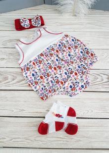 Боди для девочки с повязкой и носочками р. 62, 74