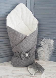 Вязаный конверт-плед (серый)