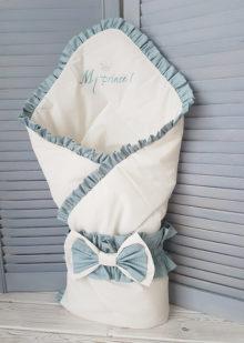Конверт-одеяло на выписку «Корона» для мальчика