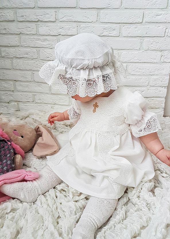 Крестильное платье с капором «Ажур» р. 62-74, 80-86