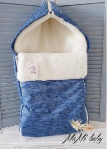 Зимний конверт в коляску (синий)