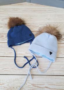 Зимняя шапочка для мальчика с помпоном (38-40)