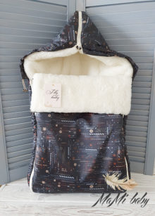 Зимний конверт в коляску (темно-коричневый)