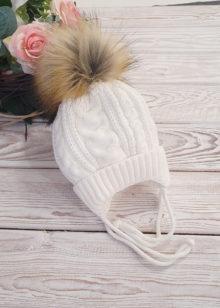Вязаная шапочка для новорожденного, зима, 0-6 мес