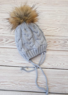 Вязаная шапочка для новорожденных, зима, 0-6 мес (серый)