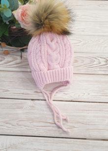 Вязаная шапочка для девочки, зима, 0-6 мес