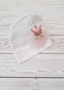 Шапочка для девочки с цветком (бел)
