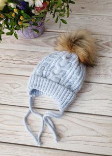 Вязаная шапочка для новорожденного, зима, 0-6 мес (гол)
