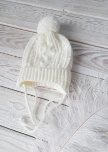 Вязаная шапочка для новорожденных осень-весна (экрю) 0-3 мес
