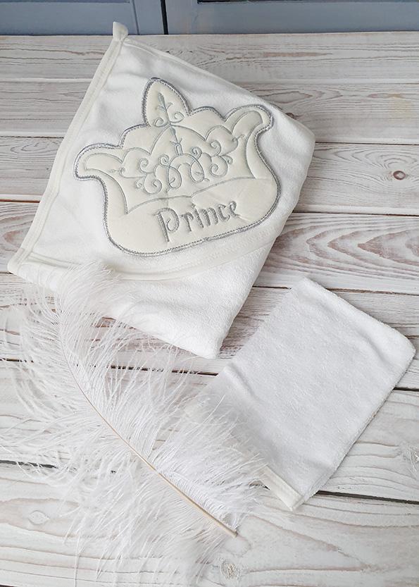 Махровое полотенце с капюшоном с салфеткой (принц)