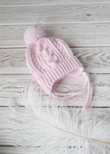 Вязаная шапочка для новорожденных осень-весна (роз) 0-3 мес