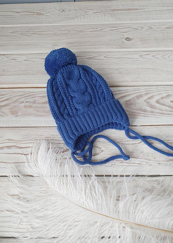 Вязаная шапочка для новорожденных осень-весна (син) 0-3 мес