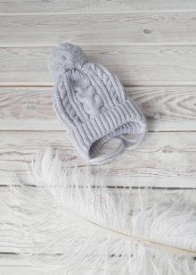 Вязаная шапочка для новорожденных осень-весна (сер) 0-3 мес