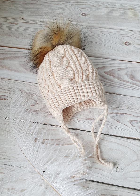 Вязаная шапочка для новорожденного, зима, 0-3мес (беж)
