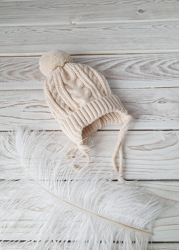 Вязаная шапочка для новорожденных осень-весна (беж) 0-3 мес