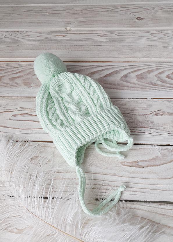 Вязаная шапочка для новорожденных осень-весна (мята) 0-3 мес