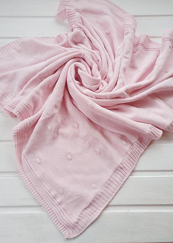 Вязаный плед «Горох» на хлопковой подкладке (розовый)