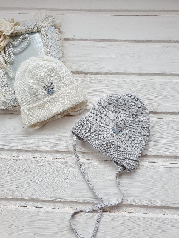 Шапочка для новорожденного, осень-весна «Мишка» 0-3 мес