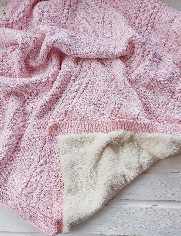 Теплый вязаный плед «Косы» (розовый)