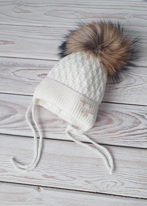 Зимняя шапочка для девочки (0-4 мес)