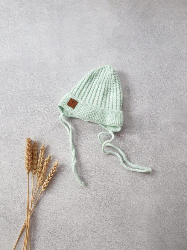 Вязаная шапочка для новорожденных осень-весна «Косичка» (мята) 0-3 мес