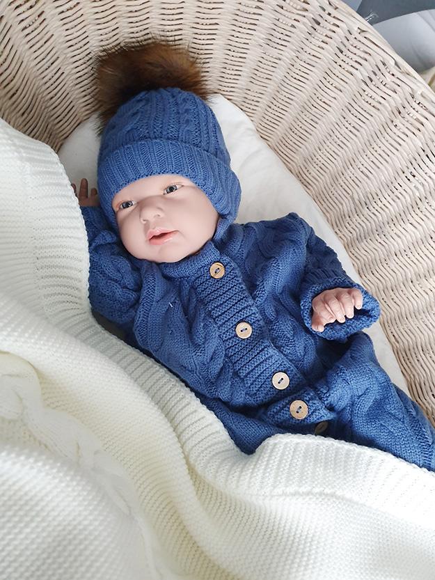 Вязаная шапочка для новорожденного, зима, 0-3мес (синий)