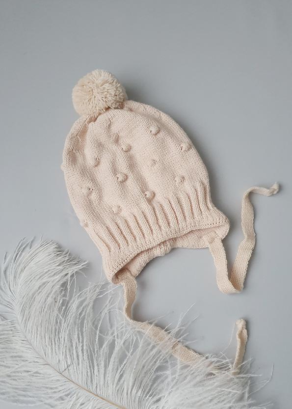 Вязаная шапочка для новорожденных осень-весна «Горох» (беж) 0-3 мес