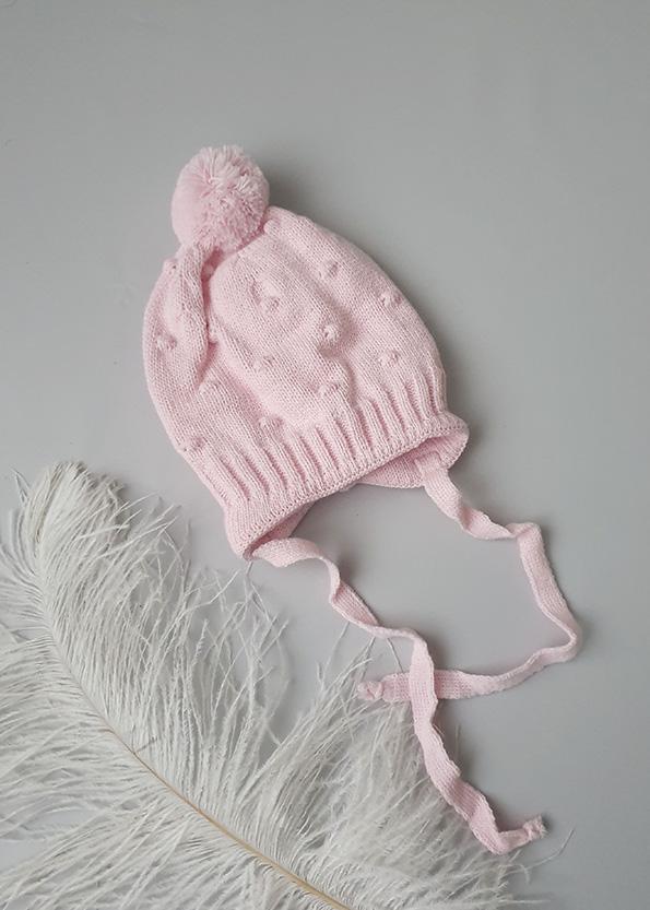 Вязаная шапочка для новорожденных осень-весна «Горох» (роз) 0-3 мес