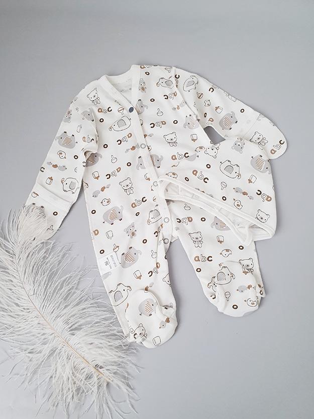 Комбинезон с чепчиком для новорожденного (слоники) р. 56, 62