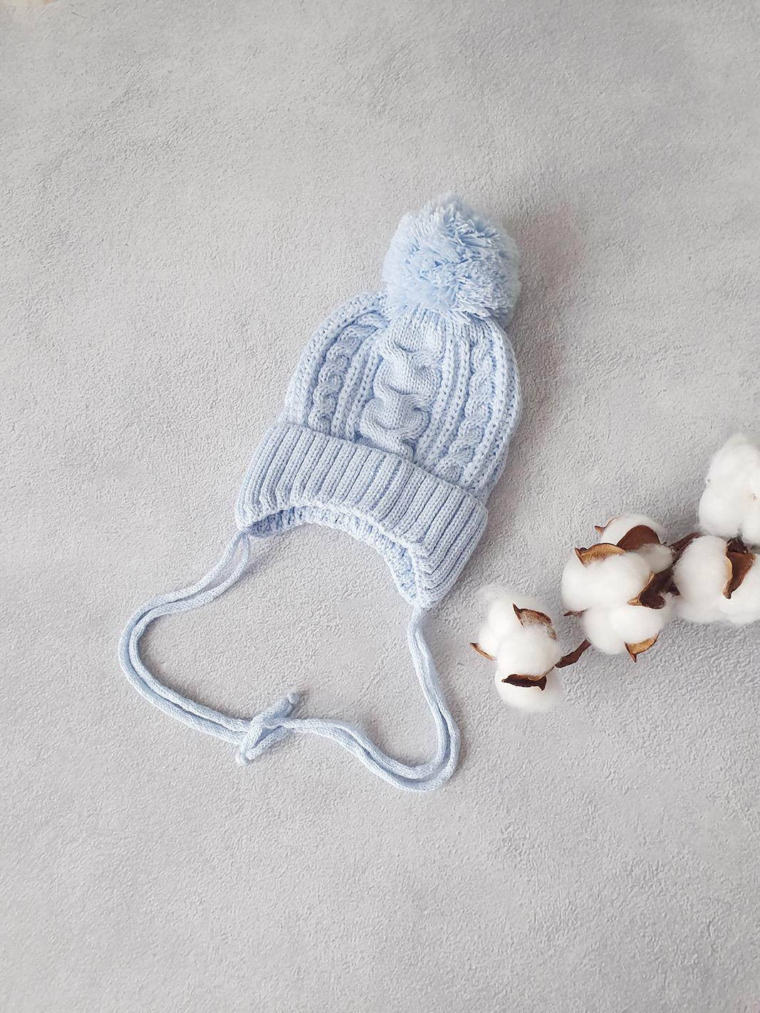 Вязаная шапочка для новорожденных осень-весна (гол) 0-3 мес