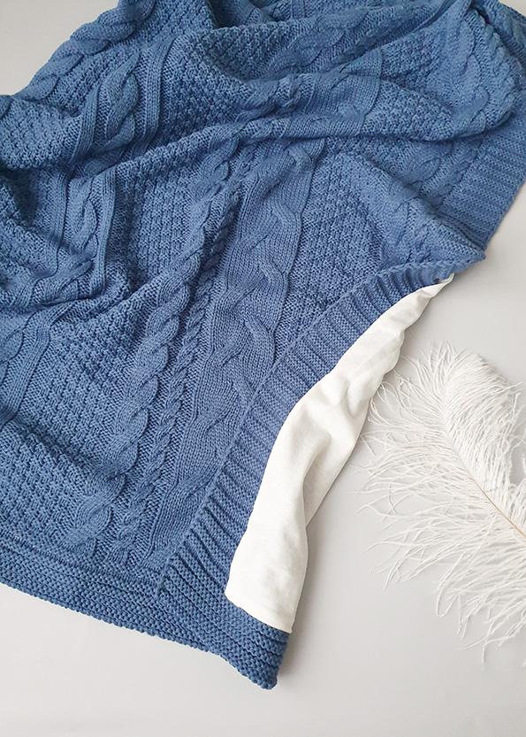 Вязаный плед «Косы» на хлопковой подкладке (синий)