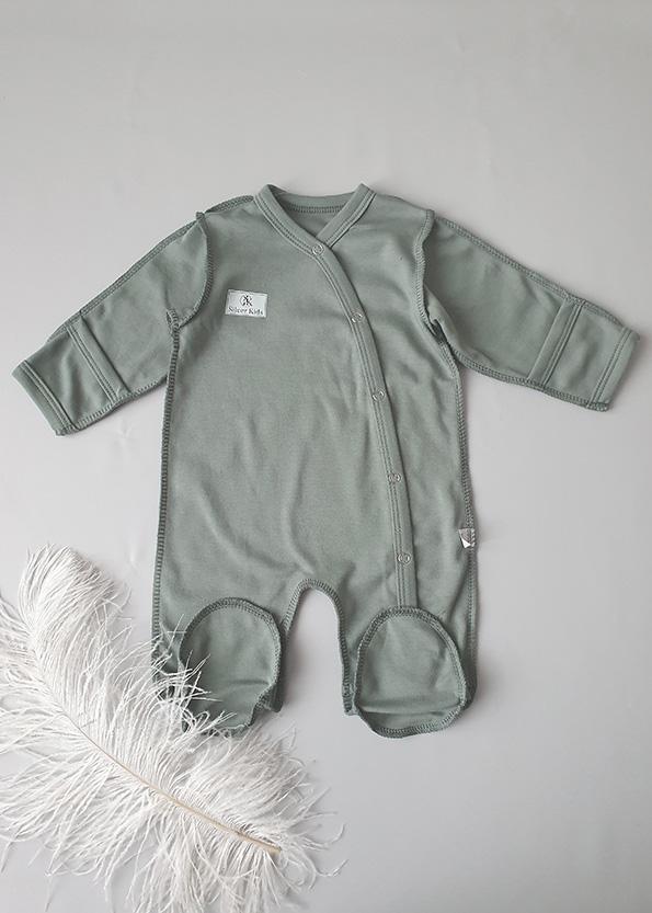 Комбинезон для новорожденного, кнопочки в ножку, хаки р.56