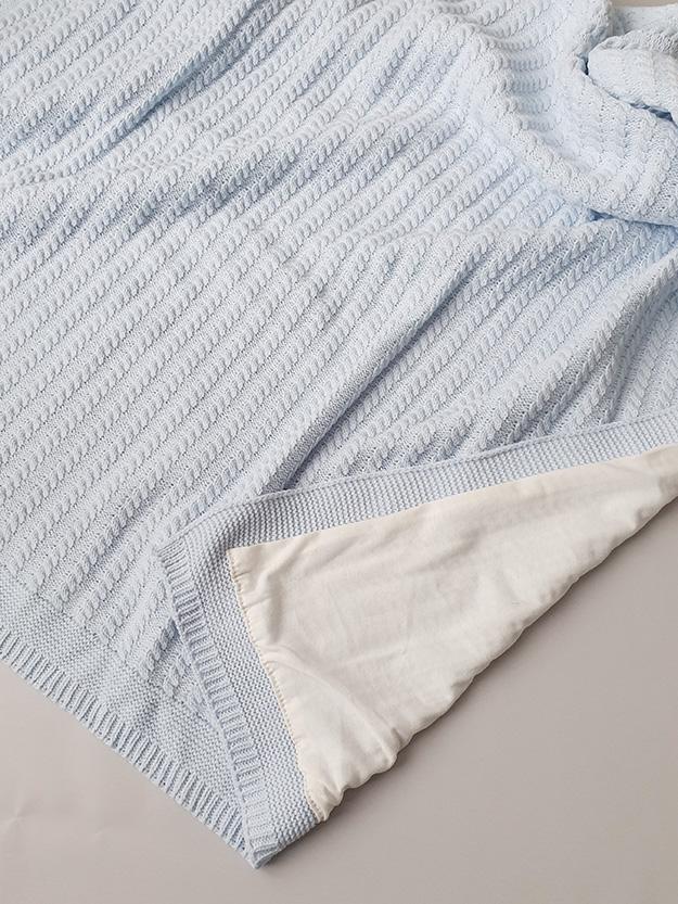 Вязаный плед «Косичка» на хлопковой подкладке (голубой)