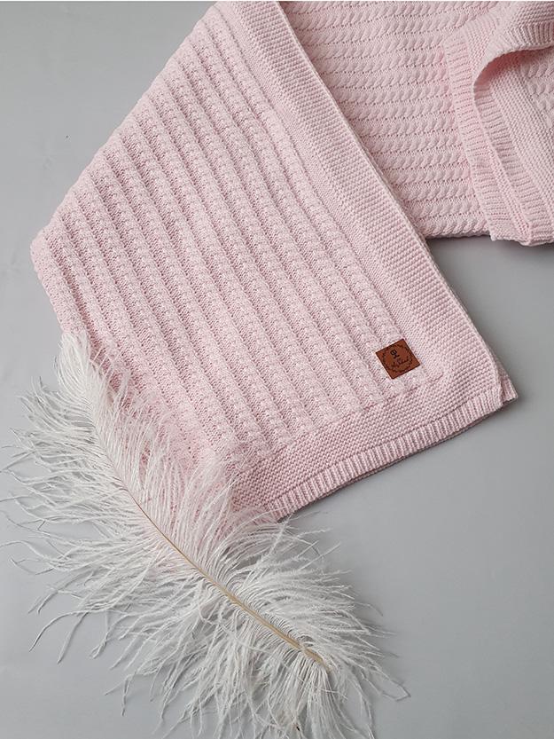 Вязаный плед «Косичка» на хлопковой подкладке (розовый)