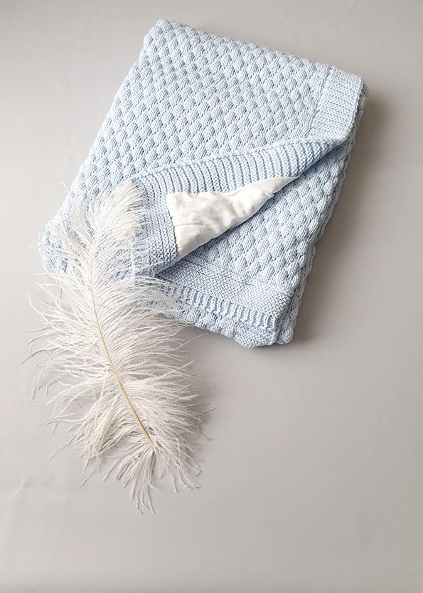Вязаный плед «Соты» на хлопковой подкладке (голубой)