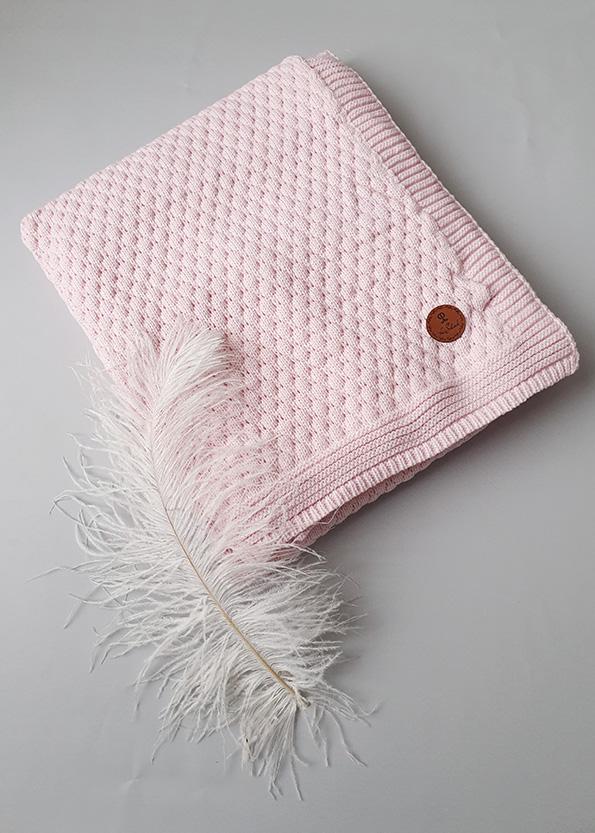 Вязаный плед «Соты» на хлопковой подкладке (розовый)