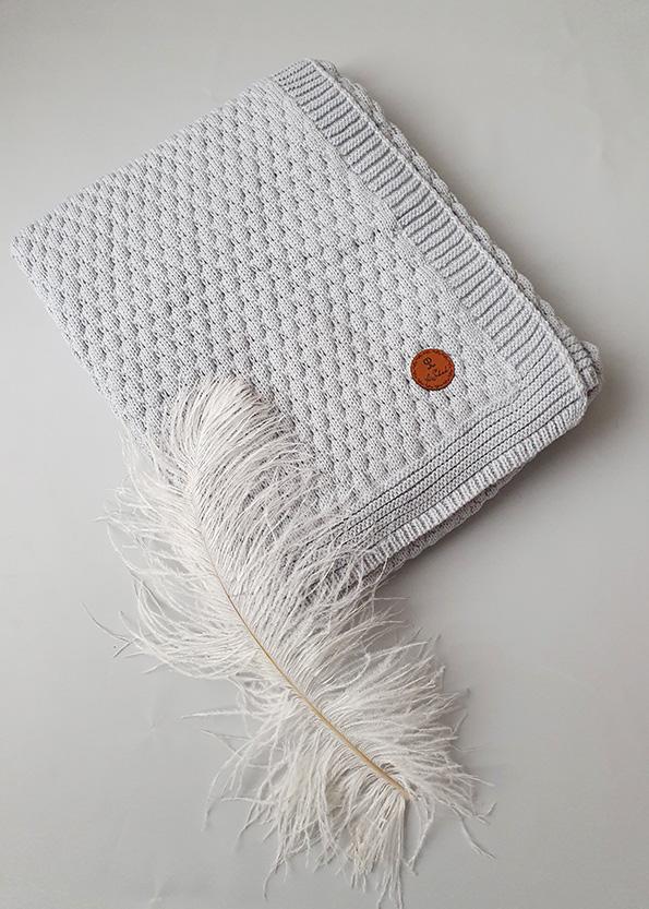 Вязаный плед «Соты» на хлопковой подкладке (серый)