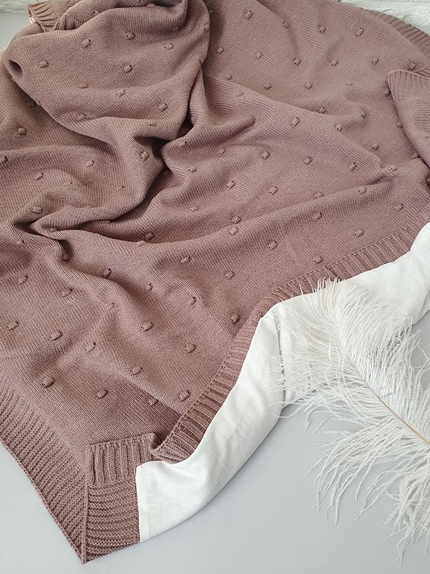 Вязаный плед «Горох» на хлопковой подкладке (шоколад)