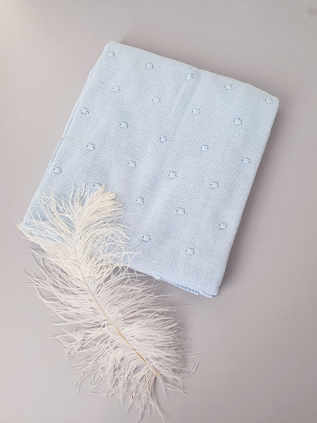 Вязаный плед «Горох» на хлопковой подкладке (голубой)