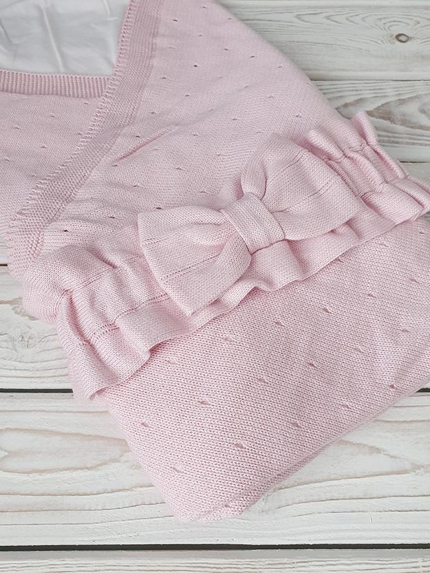 Вязаный бантик (пудрово-розовый)