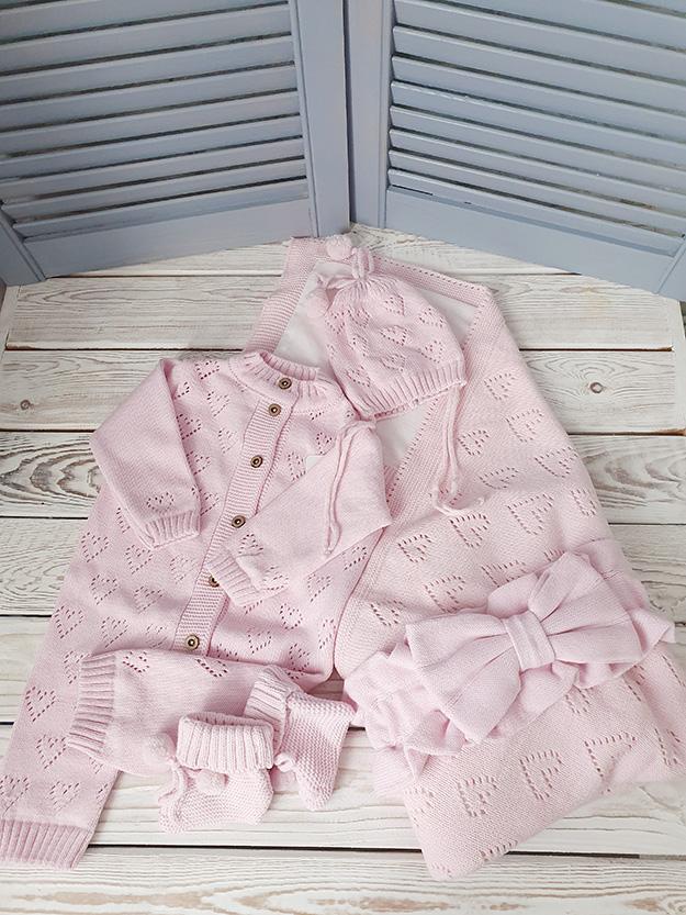 Вязаный комплект «Сердечки» (розовый)