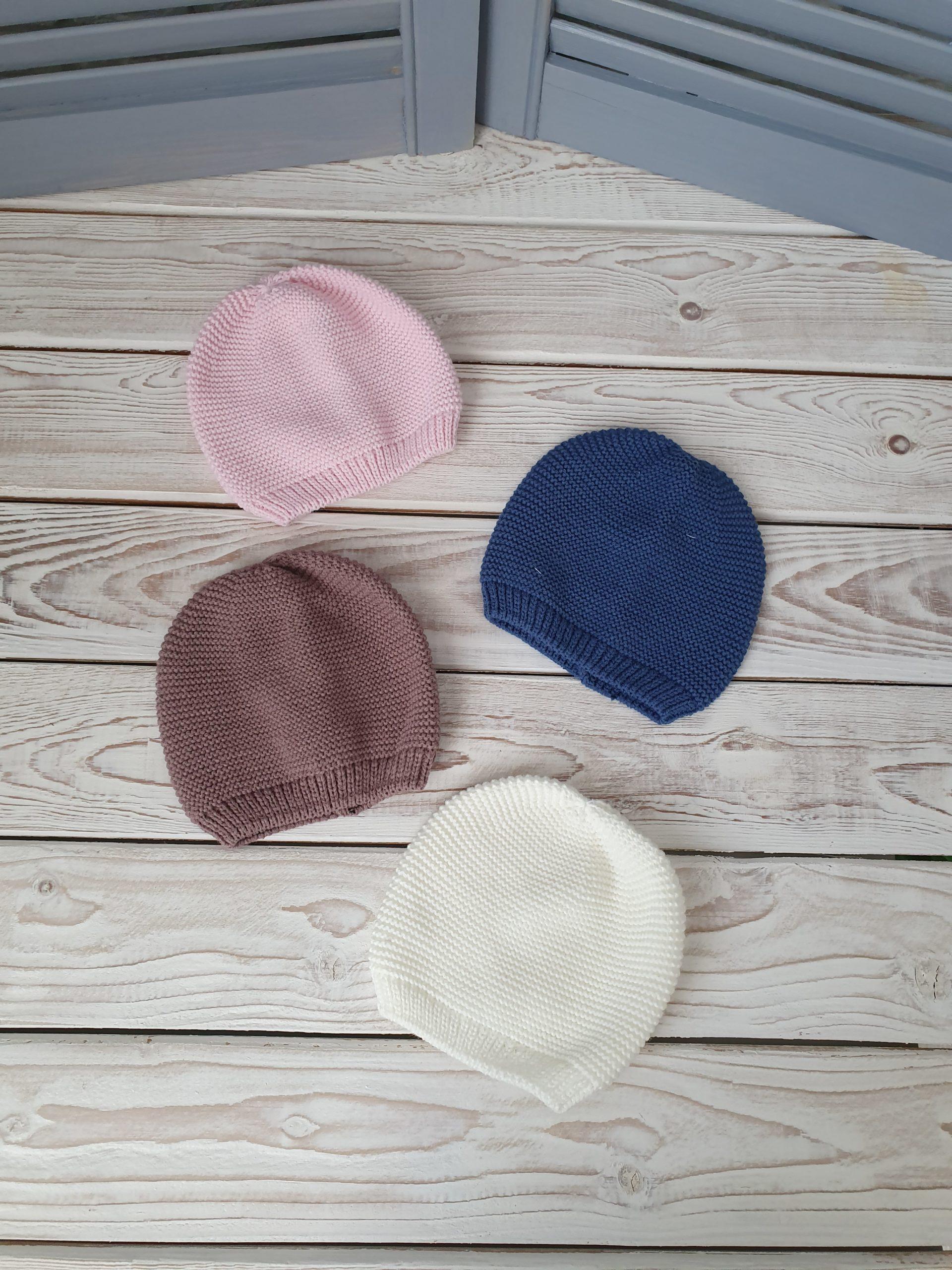 Вязаные шапочки (0-3 мес)