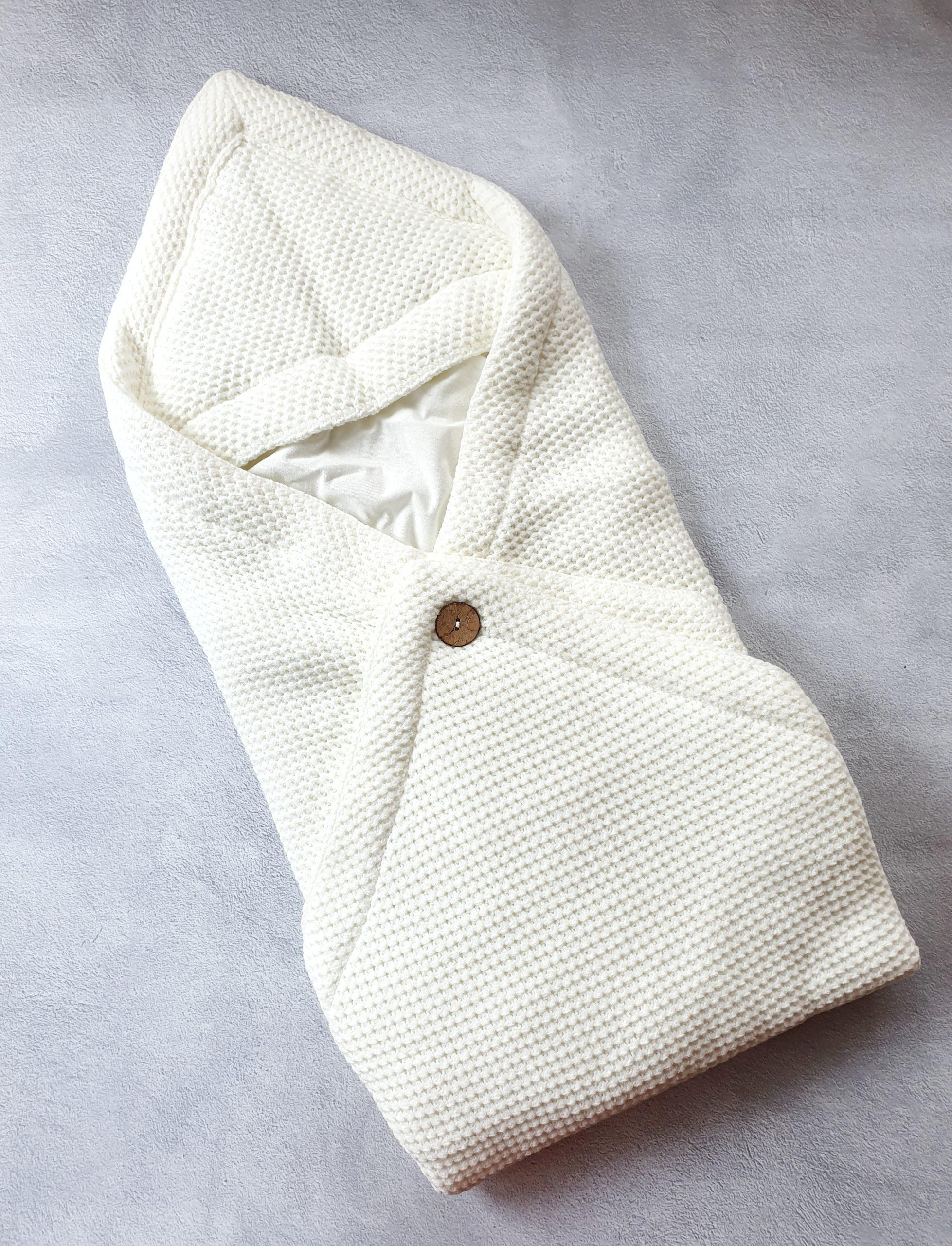Вязаный плед-конверт (молочный)