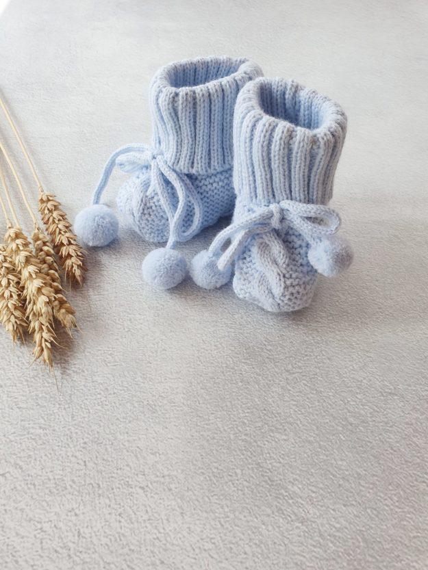 Пинетки с завязками для новорожденного (0-6 мес), голубой
