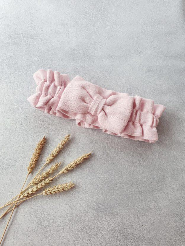 Вязаный бантик, розовый